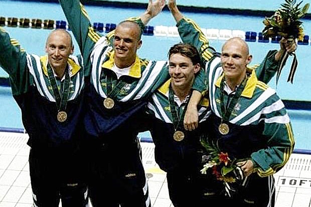 Theft of medals reported: Phil Rogers (left) with his medley relay medal