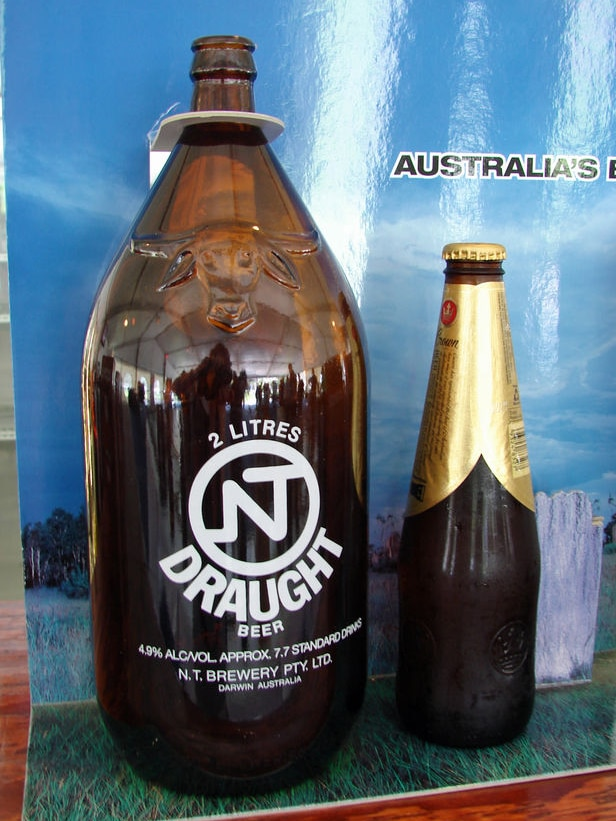 The Darwin Stubby towers over other beers.