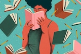A colour illustration showing a woman with curly hair and a green dress with her nose buried in a hardback book.
