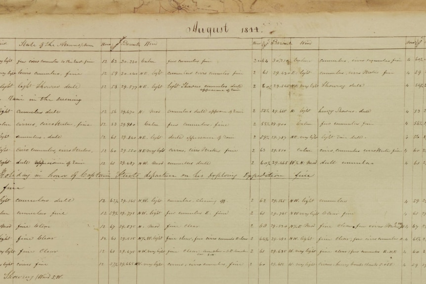 Handwritten Adelaide weather diary extract from August 1844