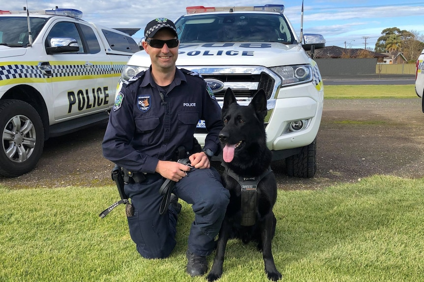 A man in police uniform kneels next to a black dog with police cars behind them