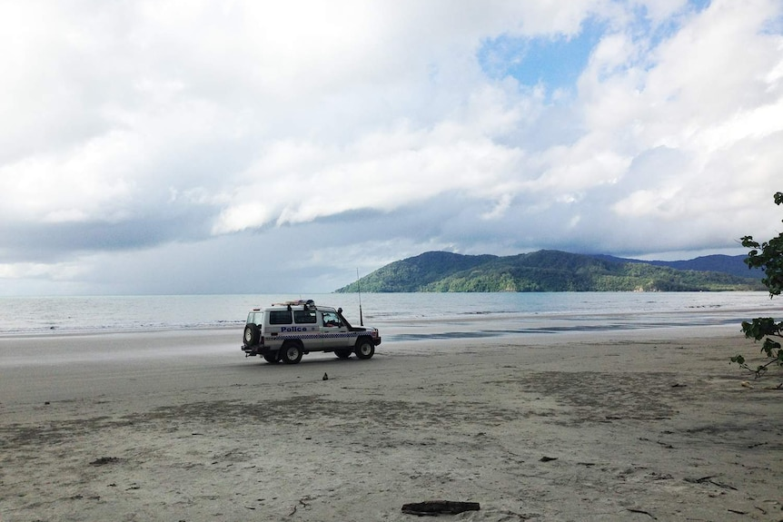 Police 4WD on Thornton Beach in the Daintree National Park