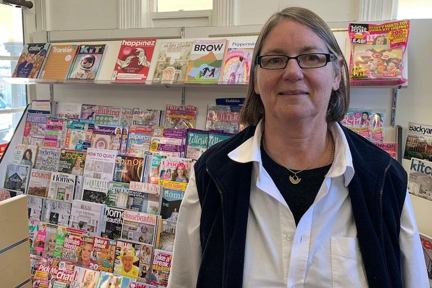 Vicki Thomas in her Beaconsfield newsagency.