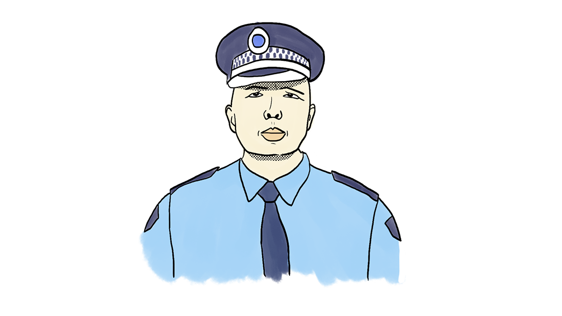An illustration of Peter Dutton in police uniform