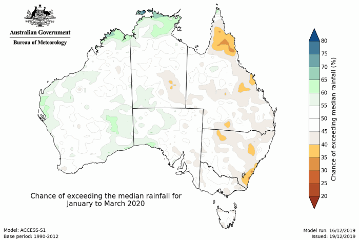 Map of Australia mainly white indicating neutral rainfall conditions January to March 2020