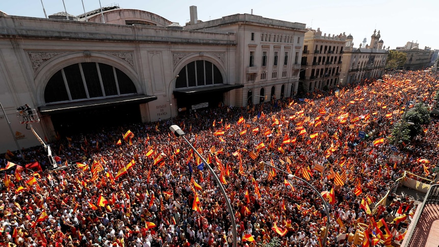 The issue has sparked mass protests, including this one through Barcelona a few days ago. Photo: Reuters/Rafael Marchante