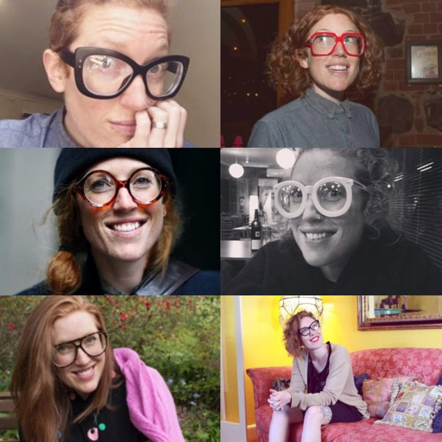 Six photos of the same woman wearing different glasses