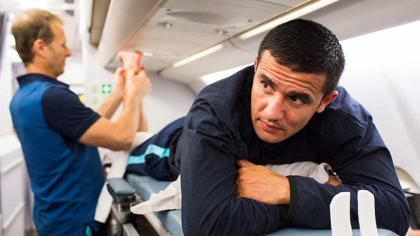 The back of the plane was reserved for the treatment table, with Tim Cahill's ankle getting looked after throughout.