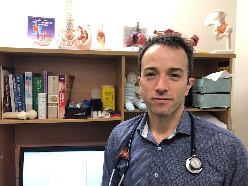 Dr Rob Park wears a stethoscope at his practice in Buderim on Queensland's Sunshine Coast