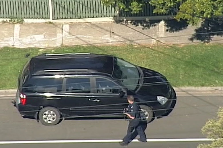 A black mini-van where a child was found unresponsive in Melbourne's west.