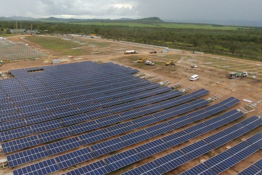 An aerial view of the Lakeland Solar and Storage Project in far north Queensland.