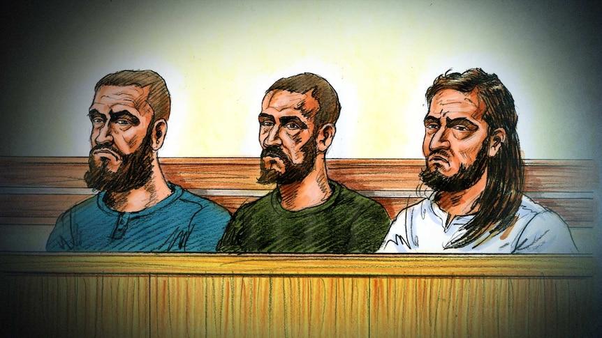 Sketch of three men arrested on suspicion of plotting a terror attack in Melbourne in November.