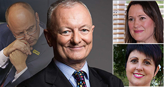 A montage of Antony Green in a suit, with a faded image of Barry Urban and headshots of Tania Lawrence and Alyssa Hayden.