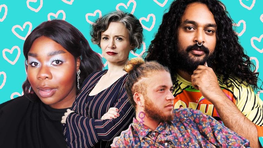 Collage of Lillian Ahenkan, Judith Lucy, Ramesh Mario Nithiyendran and Nevo Zisin