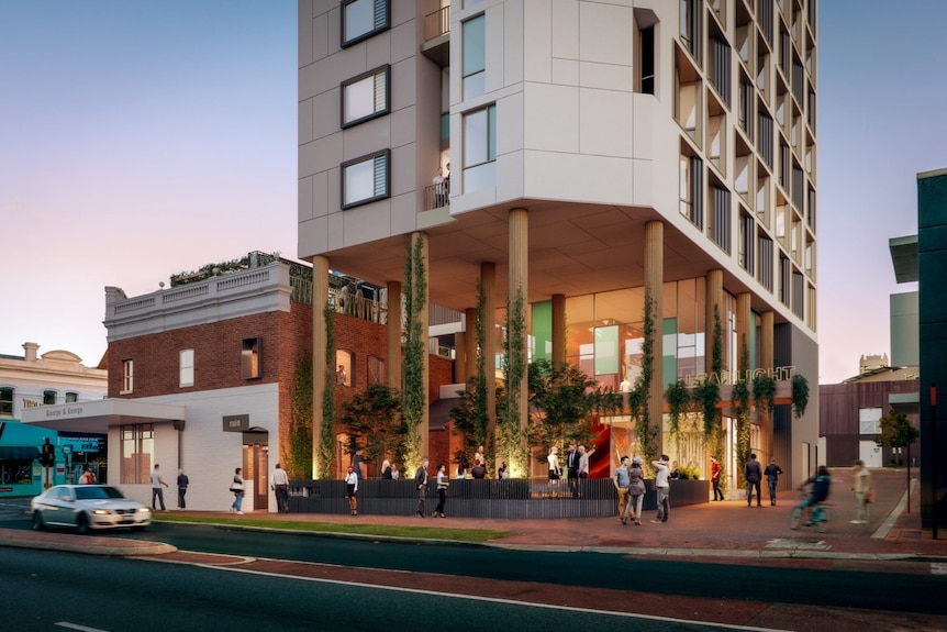 A design picture of a planned timber hotel for Perth's nightclub district