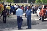 Crowds gather outside the Supreme Court in Port Moresby, Papua New Guinea.