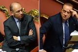 Composite image showing Italy prime minister Enrico Letta (L) and Silvio Berlusconi October 2