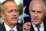 A composite image of Bill Shorten and Malcolm Turnbull both in suits and blue ties.