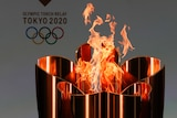 The celebration cauldron is lit on day one of the torch relay
