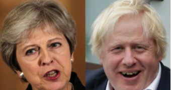 Theresa May, left, and Boris Johnson, right, in composite. Both are mid-speech.
