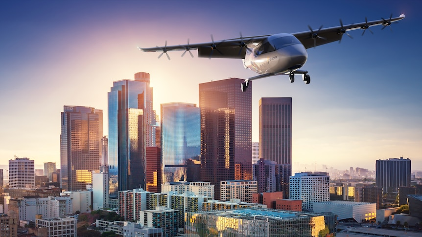 A concept image showing an air taxi over Los Angeles.