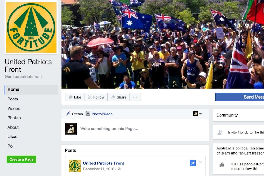 A Facebook page, whose cover image is a gathering of people waving Australian flags.