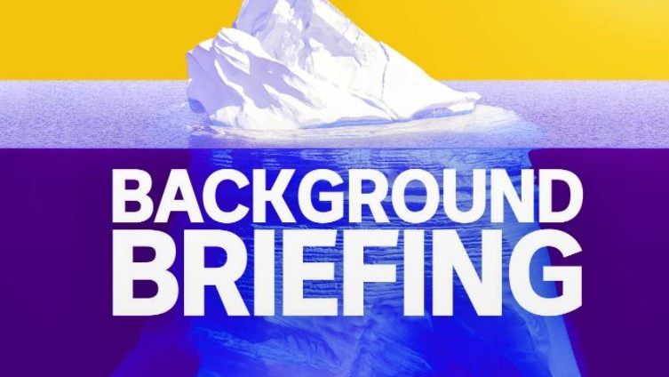 Background Briefing logo of an iceberg.