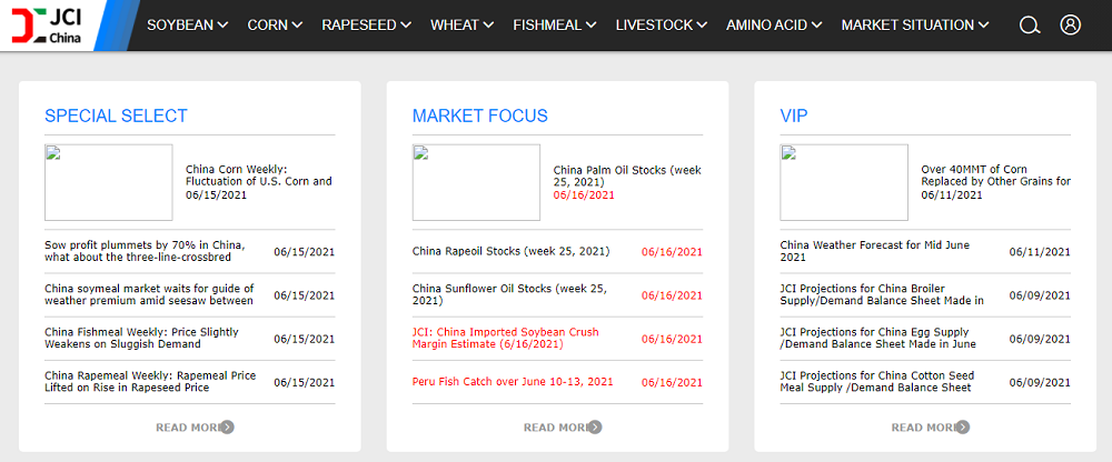 Screen shot of JCI web site