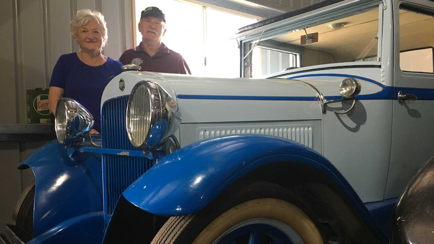 Rose Swadling and Peter Finnegan with a restored 1920s Essex motorcar