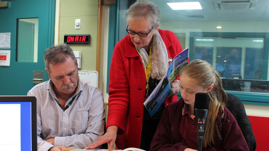 Graham Moore, Marg Taylor and Gjumurrah Moore during the app recording session