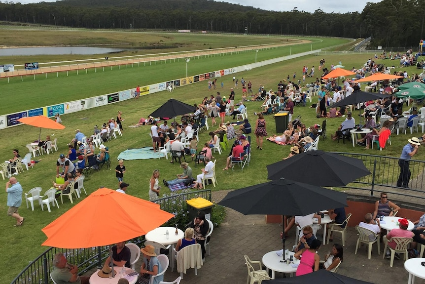 a crowd of people sit on a hill overlooking the horse racing track