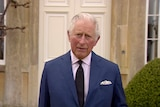 Britain's Prince Charles addresses the media, outside Highgrove House in Gloucestershire, England, Saturday, April 10, 2021.