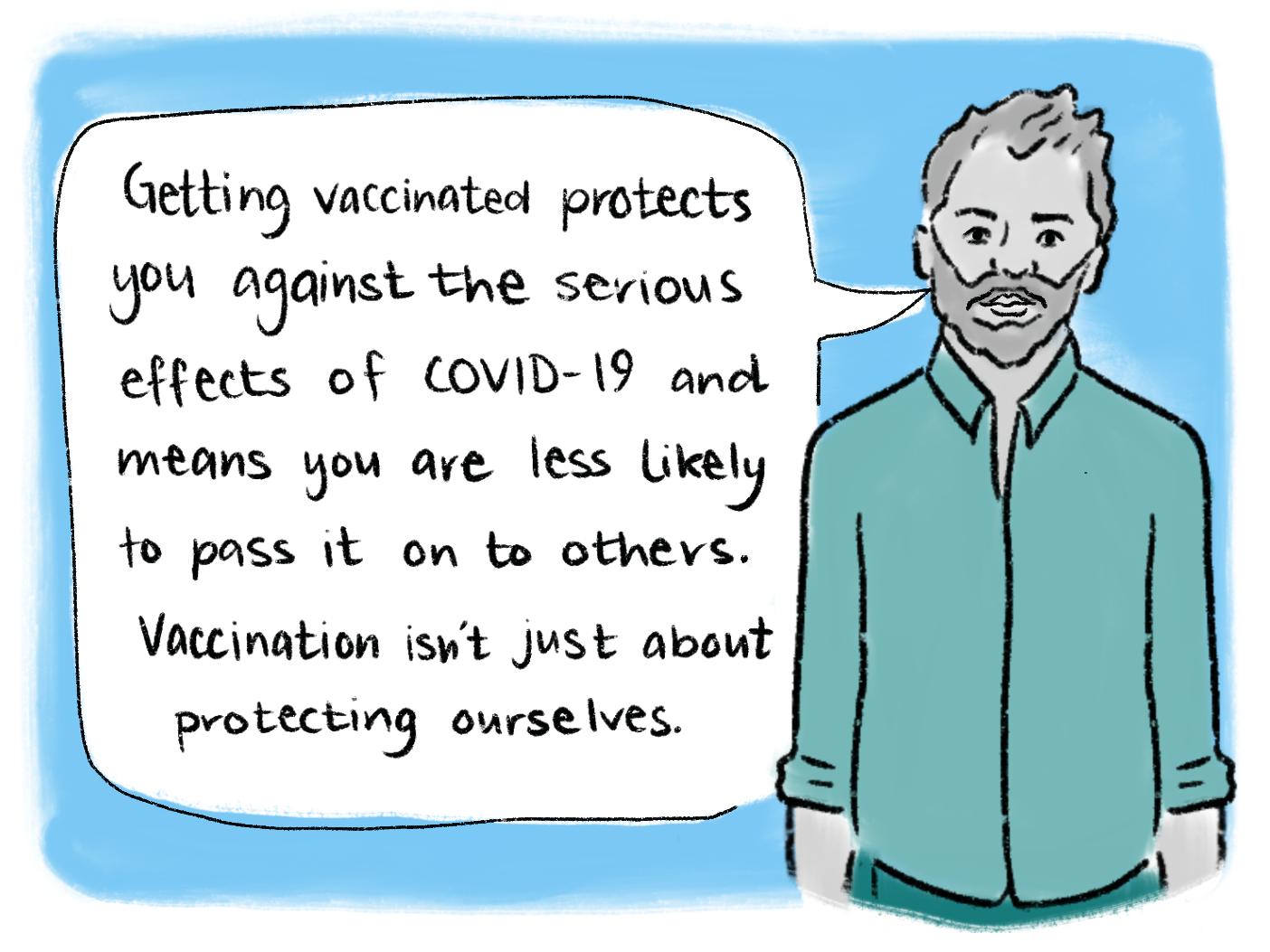Vaccination comic scene 19. Read the transcript below.