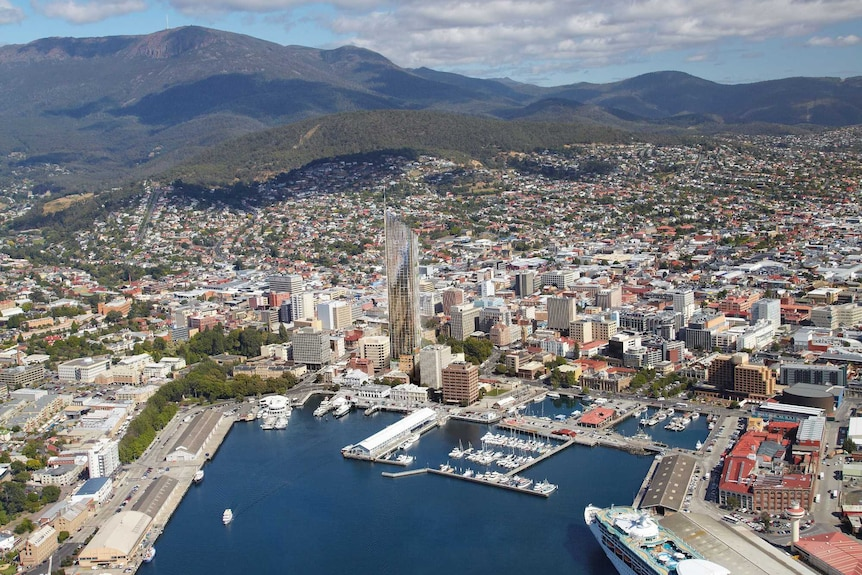 Aerial of Fragrance Group hotel proposed for Hobart