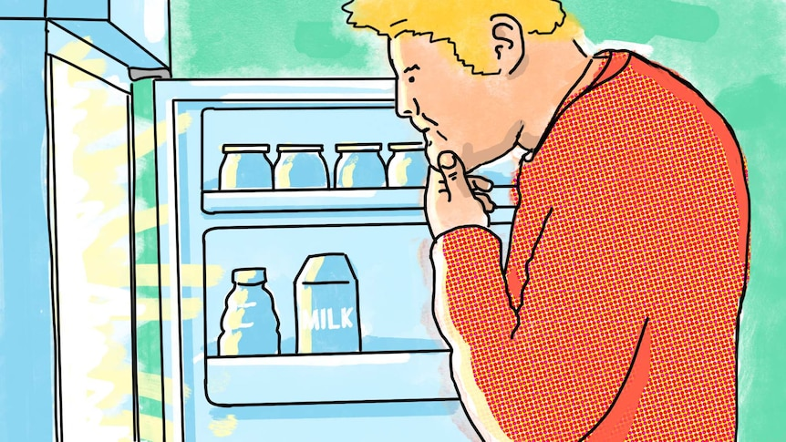 An illustration of a blonde man standing in front of an open fridge trying to decide what to eat, and if he needs to diet.