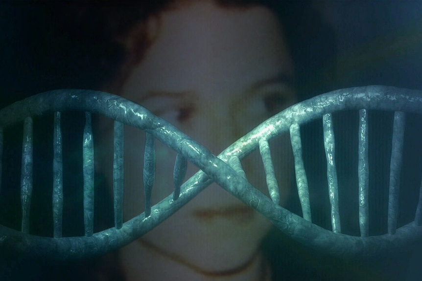An image of a DNA strand across a photo of Ciara Glennon.