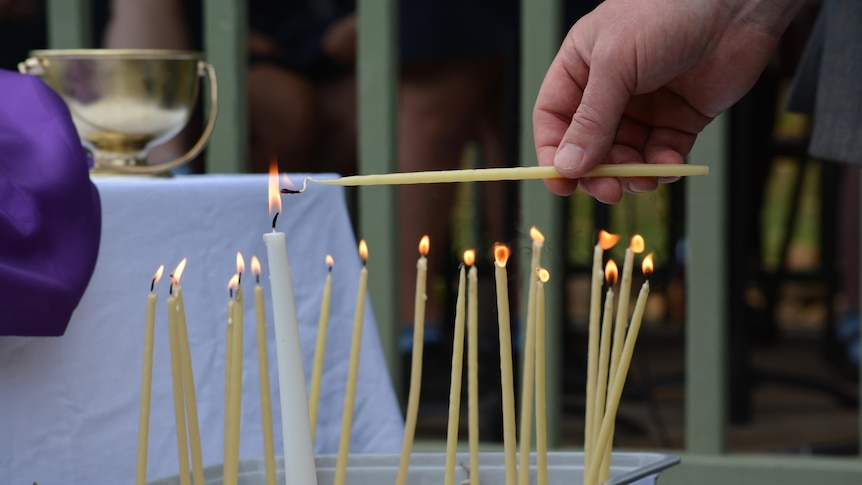 Candle lighting ceremony as part of the Ritual of Lament.