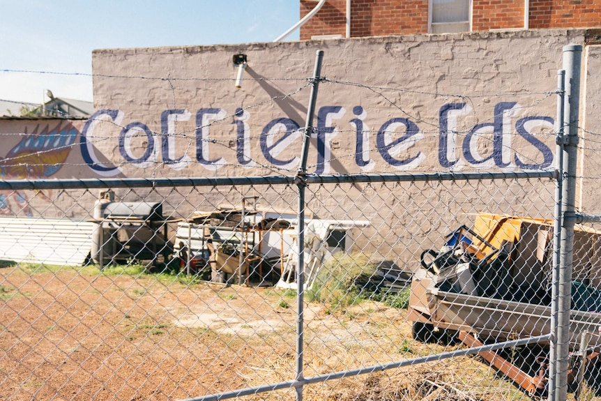 """A sign says """"Colliefields"""" on a brick wall."""