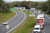 A general view is seen as cars wait to cross the border at Gold Coast Hwy checkpoint on the Gold Coast
