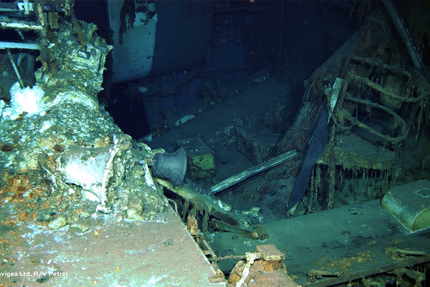 The inside of the rusty sunken ship.