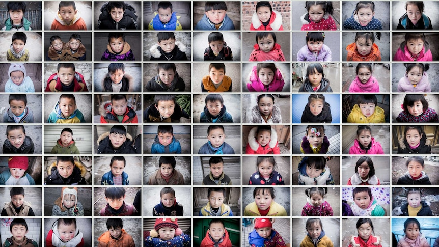"""A compilation of dozens of photos of """"left behind"""" children."""