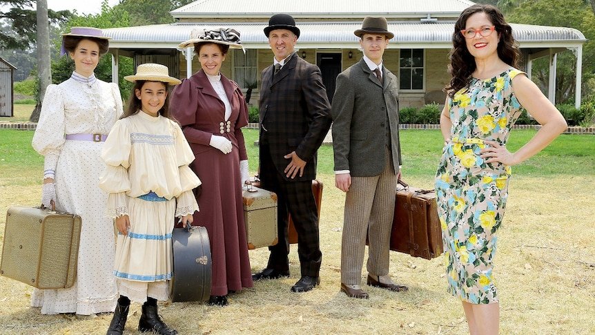 Annabel Crabb and the Ferrone family, featured in the ABC series Further Back In Time For Dinner.