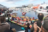 Anti-salmon protest gathering in Hobart.
