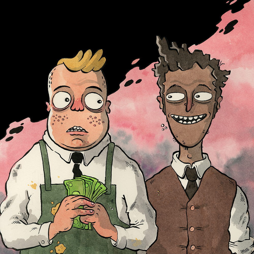 An illustration shows two characters from the chest up. One is wearing an apron, clutching money, the smiles in a waistcoat