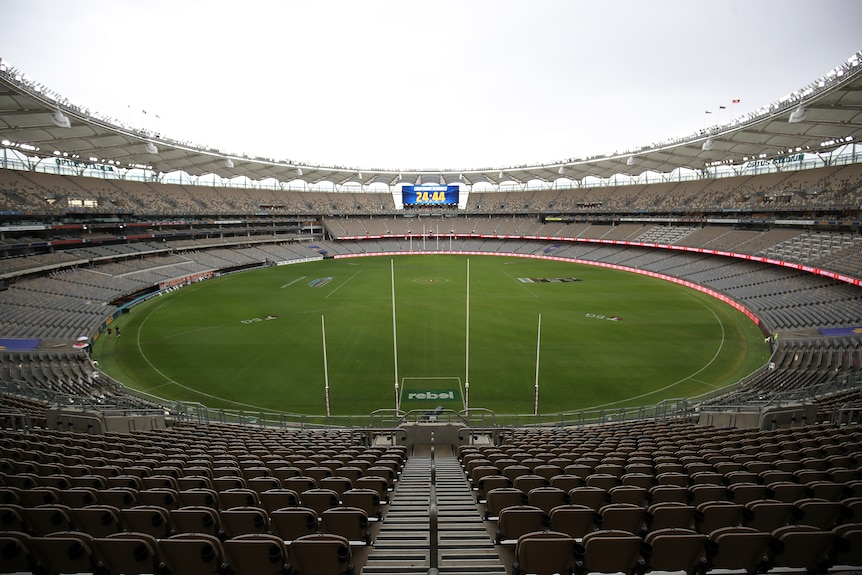 A empty stadium is seen as no crowd is permitted following a confirmed covid-19 case in WA.