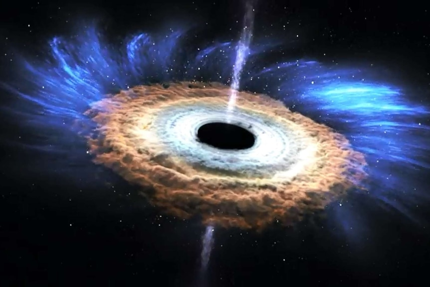 Artist's impression of swirling cyclonic like disk and powerful jets formed around supermassive black hole ASASSN-14Li.