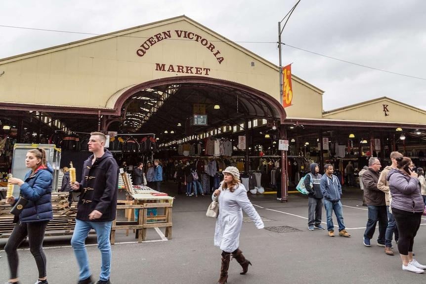 Crowds at Melbourne's Queen Victoria Market.