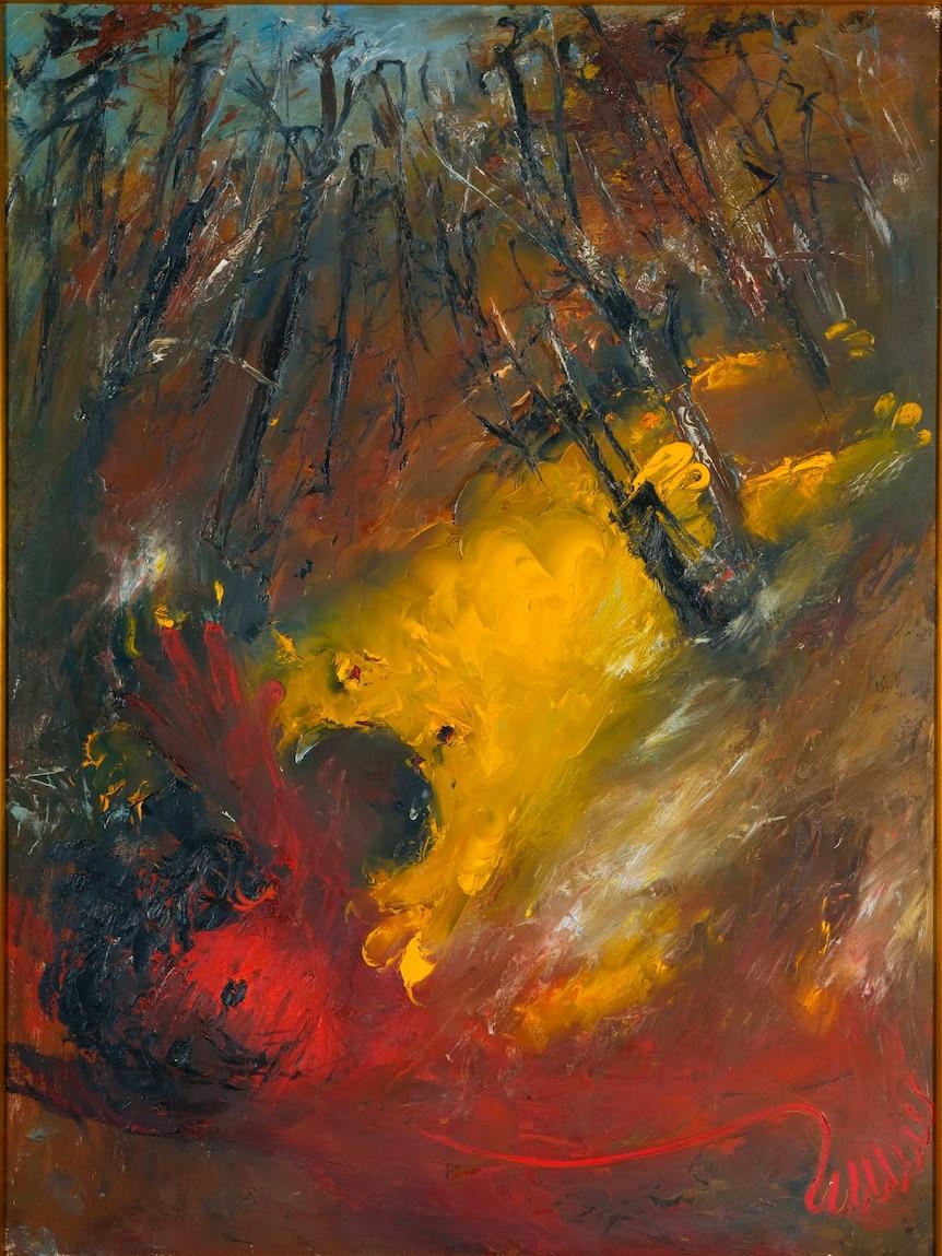 A vivid Arthur Boyd painting depicting a pastoral landscape.