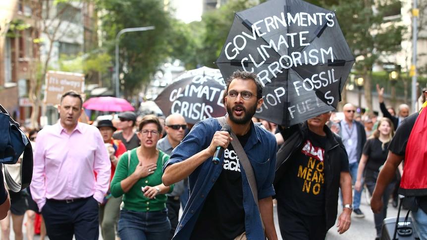 Jonathan Sri at climate protest