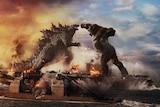 The monsters Godzilla and King Kong battling it out in Godzilla vs. Kong
